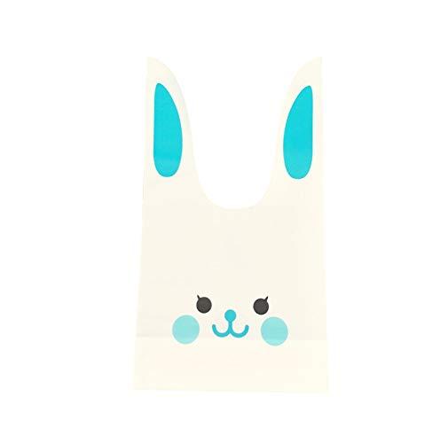 ウサギのかわいいギフトバッグ 選べるカラーとサイズ 100枚 ビニール袋 レジ袋 イベント袋 お菓子袋 MINAKIKO (青うさぎ1, M)