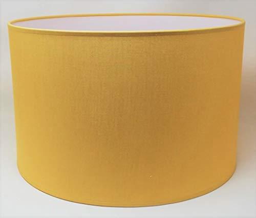 Zylinder Lampenschirm Baumwolle Stoff handgefertigt für Deckenleuchte, Tischleuchte, Stehlampe (Ocker, 25 cm Durchmesser 20 cm Höhe)