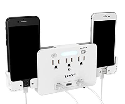 2020 New Usb Quick Charger Socket Shelf Outlet Power Socket Surge Protector Usb Hub Wall Mount Switch With Led Sensor Night Light Phone Holder Electrical Adapter Office Home School Extender by ZONV