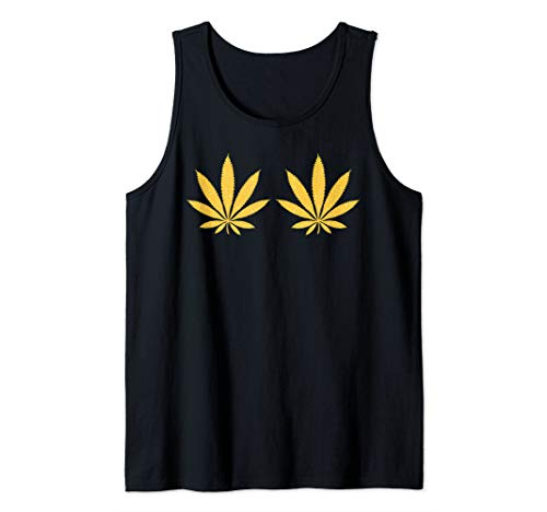 Weed Golden Boobs Bra 420 Cannabis Leaves Stoner Girl Gift Tank Top