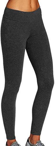 iloveSIA Damen Sport Leggings 7/8 Lang Blickdichte Sporthose Hoher Bund Basic Leggings aus Baumwolle Fitness Yoga Hosen Dunkelgrau M
