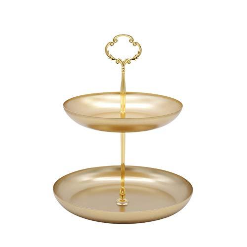 Cozy69 Bandeja de joyería grande, estante de exhibición de 2 niveles, organizador de almacenamiento de joyas de metal de doble capa para cumpleaños, hogar, fiesta, boda, té, fiesta de bebé