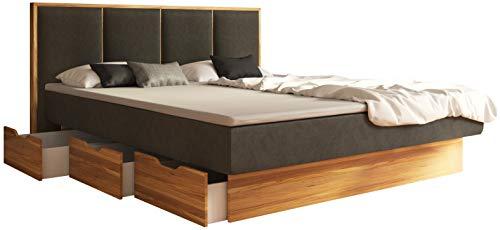 SuMa - Komplett Wasserbett 200x200 mit Topper, dual mit Schubladensockel Wildeiche Eiche und Kopfteil Quaddro, Farbe Carbon 200x200 cm