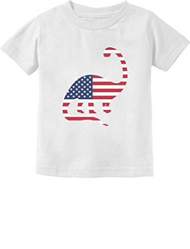 USA Dinosaur American Flag 4th of July Gift Toddler Infant Kids T-Shirt 4T White