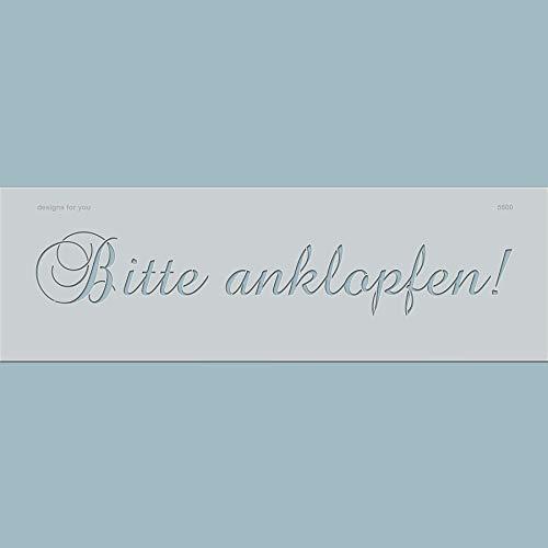 Schablone – Bitte anklopfen, 5500, Schild selber gestalten, Vintage, Buchstaben, Schablonenfolie