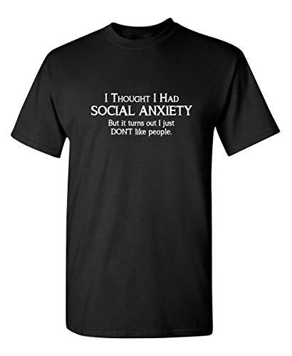 Social Anxiety Graphic Novelty Sarcastic FunnyT Shirt XL Black