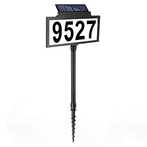 LeiDrail Solar Address Sign House Number Sign LED Illuminated Outdoor Address Plaque Waterproof Lighted Up for Home Yard Street