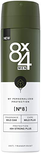 8X4 Men Deo Spray N°8 Wild Oak (150 ml), Herren Deodorant mit erdig-holzigem Duft, 48h zuverlässiger Anti-Transpirant-Schutz für sensible Haut