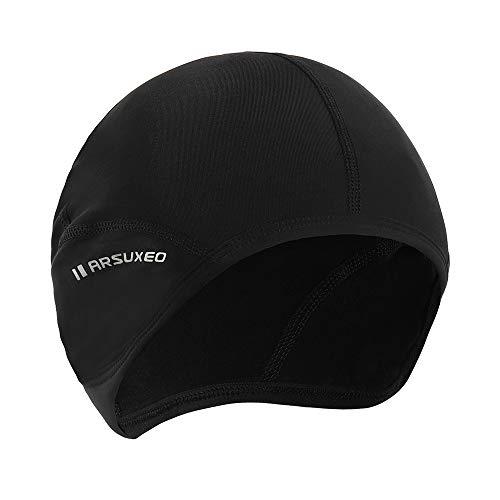 Explopur Berretto da Ciclismo Uomo - Fodera per Casco da Bici da Corsa in Pile Sci Antivento Bandana Cappelli Invernali Cappello Nero L
