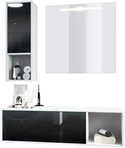Conjunto de Muebles para baño La Costa, Cuerpo en Blanco Mate/Frentes Negro de Alto Brillo, con Espejo LED
