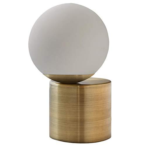 Amazon Brand – Rivet Modern Glass Globe Living Room Table Desk Lamp With LED Light Bulb - 7 x 10...