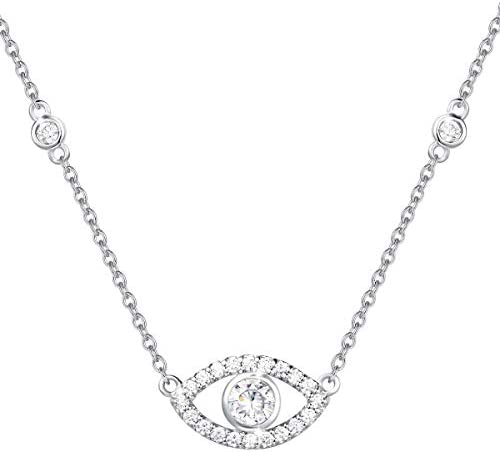FANCIME Sterling Silver Evil Eye Necklace Cubic Zirconia Simulated Diamond Pendant Necklace product image