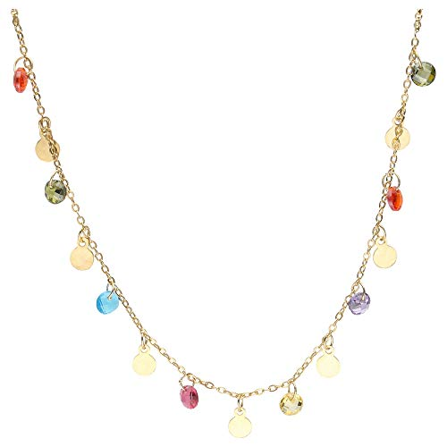 Smart Jewel Collier Bunte Zirkonia Steine Und Plättchen, Silber 925 Gold, 45 Cm 925 Sterling Silber