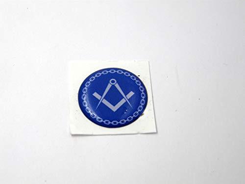 3D Doming Aufkleber Freimaurer klein rund blau-weiß (4er Set)