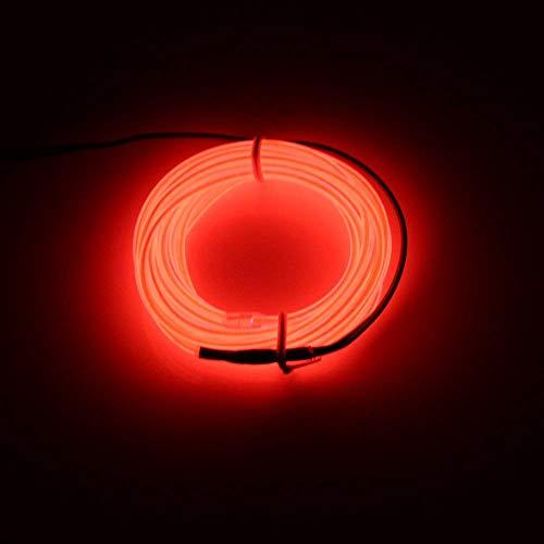 Lerway 5M EL Wire Neon Kabel Glowing Leuchtet Tron Electroluminescent Beleuchtung Licht EL Draht Mit Batterie Trafo für Neujahr Weihnachten Halloween Party Kostüm Rave Geburtstag (Rot)