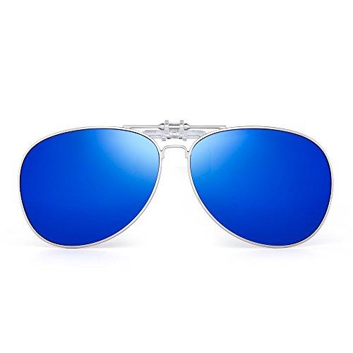 Retro Clip en Aviador Gafas de Sol Polarizadas Flip up Lentes Conducir Anteojos Hombre(Plateado/Azul Polarizado)