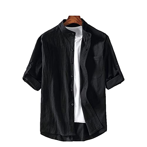 SSBZYES Camisas para Hombres Camisa De Verano De Manga Corta Tops Camisetas Cuello Alto Mangas De Cinco Puntos Camisas De Manga Corta para Hombres Mangas De Siete Puntos Camisas De Talla Grande