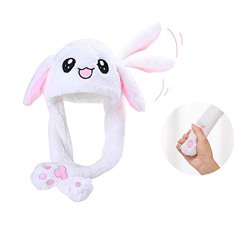 Topwon Cute Plush Bunny Hat Rabbit Cap - Ears Popping Up When Pressing The Paws (Bunny Hat) White