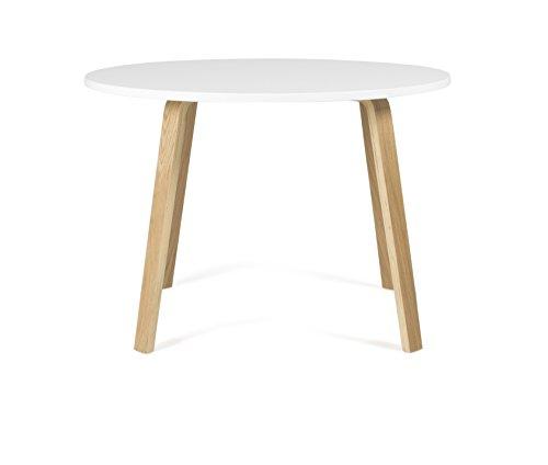 Tenzo 3630-001 Dine Designer Table Ronde, Blanc/Chêne, Plateau : Panneaux MDF laqués ép. 25 mm, 75,5 x Ø 110 cm (HxLxP)