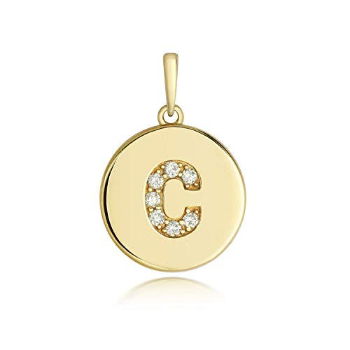 J R Jewellery Diamond Initial C Pendant Yellow Gold Ladies Hallmarked All Chain Lengths Boxed
