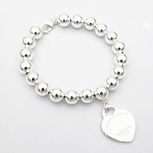 WLLLTY Pulsera para Mujer Plata de Ley 925 Moda clásica Tarjeta de Plata en Forma de corazón Cuentas Redondas de 8 mm Pulsera para Mujer Joyería