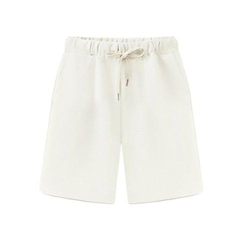 Pantalon Corto Deporte Mujer Verano Modernas Casual Anchos Jogging Fitness Bermudas Shorts Tallas Grandes (Color : Blanco, Size : 4XL)