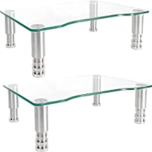 2 Pack Computer Monitor Riser with Height Adjustable Multi Media Desktop Stand for Flat Screen LCD LED TV, Laptop/Notebook/Xbox One