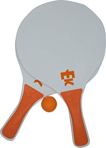 Set da tennis da spiaggia in legno, 2 racchette, 1 palla, in una borsa di rete, set di racchette in legno, modello Arenal, colore: arancione