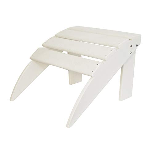 ResinTEAK Outdoor Adirondack Ottoman (White) | Weather Resistant, Match with All Adirondack Chair Sizes | Made from Special Formulated HDPE Poly Lumber Plastic
