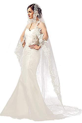 Babyonlinedress® 3m Lang Brautschleier Kathedrale Tüll Stickerei Braut Hochzeit Schleier Blumen Deko zum Brautkleid Eifenbein