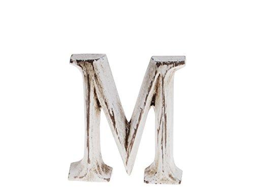 """kadoh Buchstabe """"M"""" (small) Holz Höhe 7,5 cm weiß Vintage-Style ca. 8 cm Buchstaben Deko Vintage"""