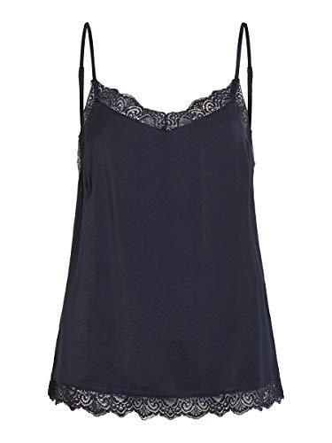 Vila Clothes Vicava Lace Singlet-Noos Camiseta sin Mangas, Azul (Total Eclipse Total Eclipse), 42 (Talla del Fabricante: X-Large) para Mujer