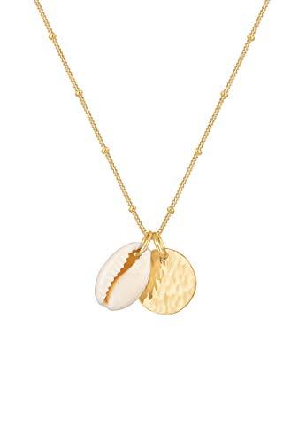 Elli Halskette Kauri Muschel Plättchen Kugelkette 925 Silber