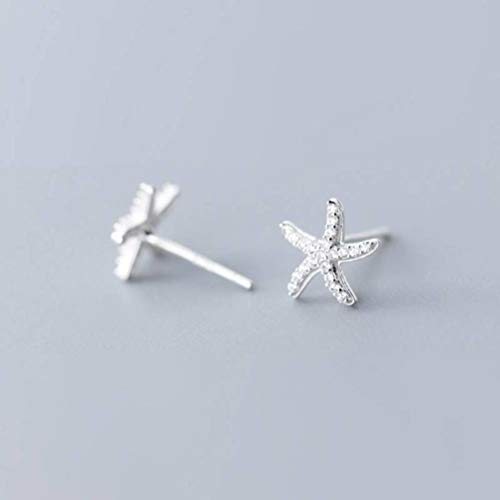 WOZUIMEI Pendientes de Plata S925 Estilo Coreano Femenino Estilo Literario Simple Pendientes de Moda de Diamantes de Estrella de Mar Lindaplata