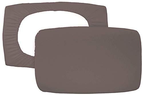 Home Edition 2er Pack Spannbezug für Nackenstützkissen Baumwolljersey (mit Elasthan) 36x50 bis 36x60 cm (Braun)