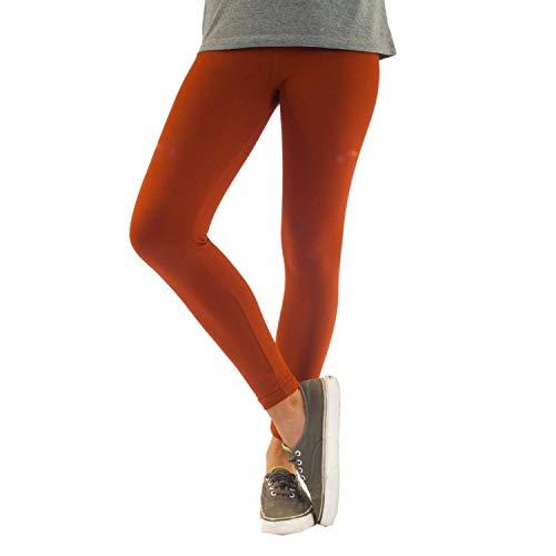Blickdichte Damen Leggings aus Baumwolle Leggins Knöchellang in schwarz weiß grün grau rot gelb, Farbe: Ginger, Größe: 48-50 (3XL)