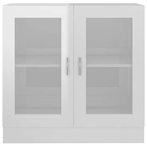 Kshzmoto Mueble de Vidrio Aparador Vitrina Mueble con Puerta de Vidrio Mueble, 82.5x30.5x80 cm, Blanco de Alto Brillo