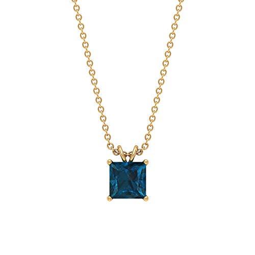 Rosec Jewels 10 quilates oro amarillo talla princesa Blue Topacio azul - Londres