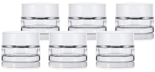 Clear Glass 0.25 oz Thick Wall Balm Empty Jars with (6 pack, White Foam Lined Smooth Lids) (0.25 Ounce Glass)