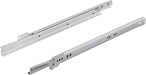 Gedotec Schubladenschienen Küche TEILAUSZUG Rollenführung REAS Kugelführung Schubladen | Schienen mit Länge 650 mm | Auszüge Metall RAL 9001 cremeweiß | 1 Paar - Rollschubführung für Holz-Schubkästen