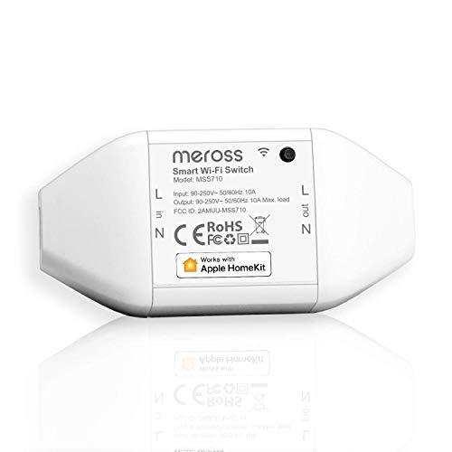 Meross WLAN Schalter funktioniert mit Apple HomeKit, Smart Switch Fernbedienung mit Sprachsteuerung mit Siri Alexa, Google Assistant, SmartThings, DIY Smart für elektrische Haushaltsgeräte, nur 2,4Ghz