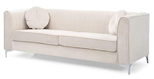 Glory Furniture Delray Sofa, Ivory. Living Room Furniture, 3 Seater