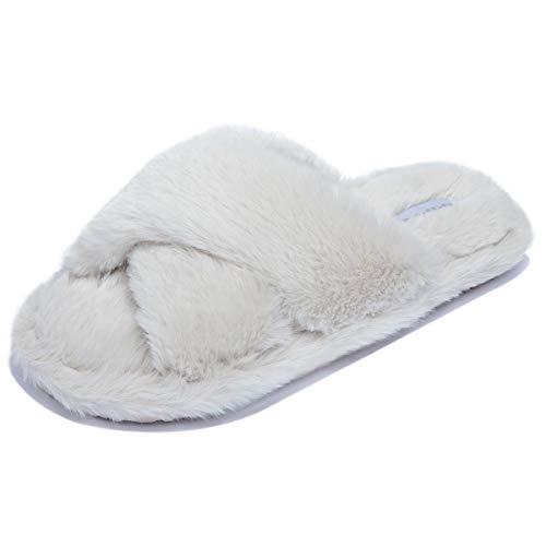 [Miqieer] ルームシューズ レディース スリッパ ファー付き 冬用 防寒 あったか もこもこ 柔らかい ふわふわ かわいい ファーサンダル 洗える 室内履き