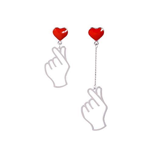 QIN Punk declara Pendientes asimétricos Hand Love Heart Heart Pendientes Largos Ear Rrout Fiesta Joyería de Boda