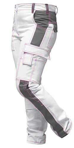 strongAnt - Damen Arbeitshose komplett Stretch Weiß Pink für Frauen Malerhose mit Kniepolstertaschen - Made in EU - Weiß-Grau/Pinke Naht 24