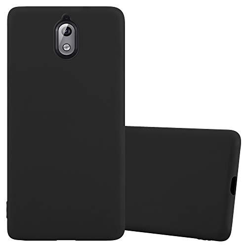 Cadorabo Hülle für Nokia 3.1 / Nokia 3 2018 in Candy SCHWARZ - Handyhülle aus flexiblem TPU Silikon - Silikonhülle Schutzhülle Ultra Slim Soft Back Cover Hülle Bumper