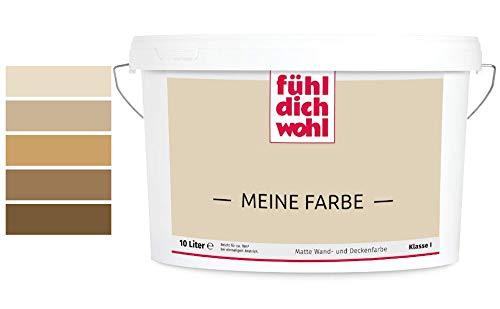 Fühl Dich Wohl Meine Farbe braun, matte Wandfarbe braun, hohe Deckkraft, verschiedene Brauntöne zur Auswahl (5L, Sandbraun E5-37)