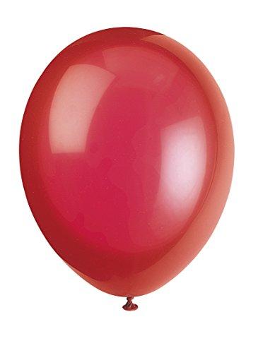 Unique Party - 80012 - Paquet de 10 Ballons - Latex - 30 cm - Rouge Écarlate