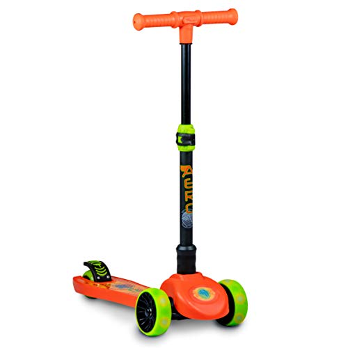 Flybar Aero 3 Wheel Scooter for Kids - Kick Scooter, Step Brake - Ages 3 and Up (Orange Flame LED)