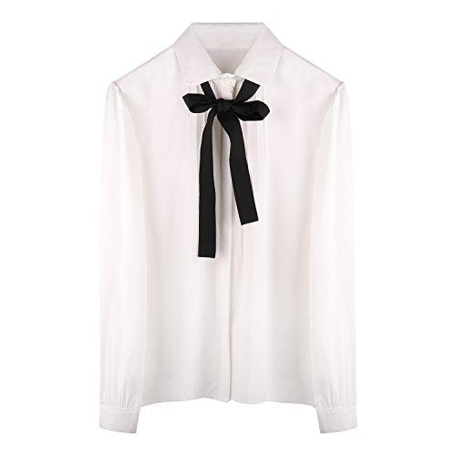 Sankill Sweet Chiffon Tie Bow Blouse (XXXL, Long sleeve)